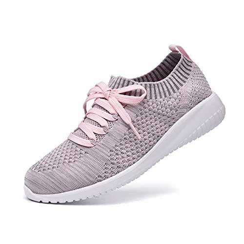 JIUMUJIPU Women's Walking Sneaker Slip-on Running Shoes - Black,White,Gray,Lightweight Mesh-Comfortable Tennis Shoe (Gray/pink/004-10, 8)