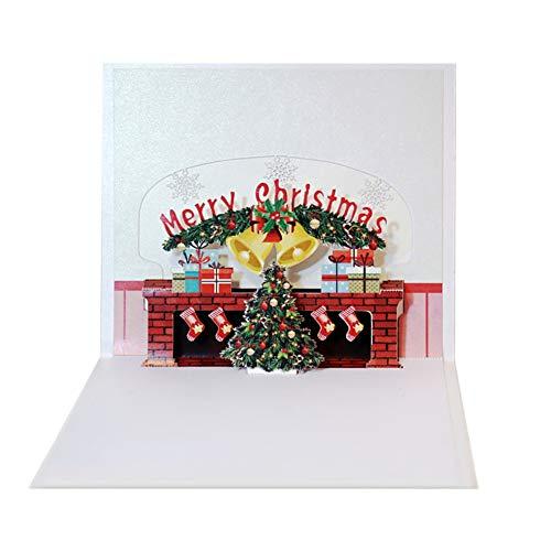 Frohe Weihnachten Kamin Weihnachten 3D Popup-Karten Winter Festival Grußkarte Urlaubseinladungen