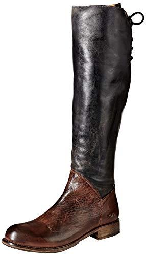 bed stu Women's Manchester Motorcycle Boot, Black Rustic/Teak Rustic, 8 M US