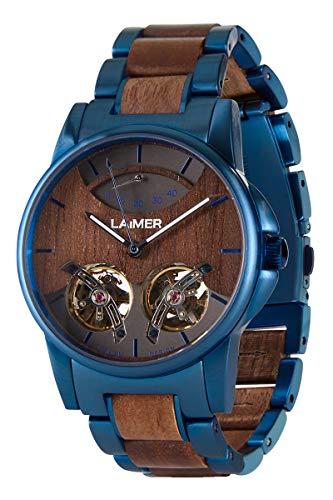 LAiMER Holzuhr - Armbanduhr Alexander aus Massivholz - analoge Herren Automatikuhr 47 Juwelen mit Gangreserveanzeige und Leuchtzeiger - Ø 43mm - Zero Waste Verpackung aus Naturholz