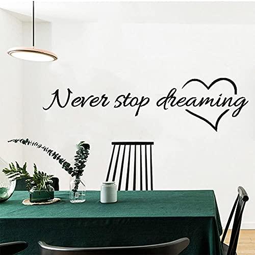 Adesivo da parete rimovibile citazione mai smettere di sognare fai da te arte murale decalcomania per la decorazione della casa soggiorno