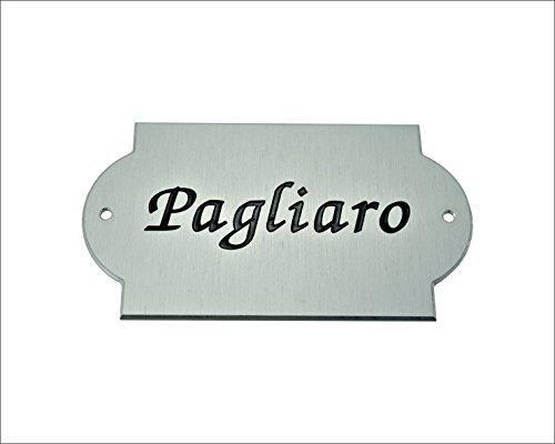 Placa para puerta con grabado – de aluminio anodizado natural – con orificios de fijación – Casa/jardín/exteriores/diseño – Medidas 130 x 72 x 2 mm – Personalizable (mediados a granel), person