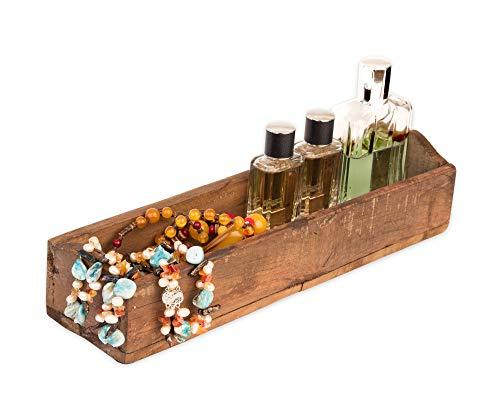BigDean Alte Holzkiste ca. 35x7x9 cm - EIN-Kammer - Vintage Holzkasten länglich - Echte, benutzte Form aus Indien aus Altholz gefertigt - Jedes Stück EIN Unikat