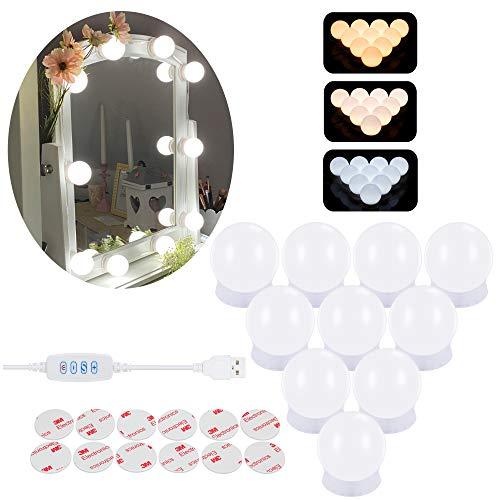 Sylvwin Luces de Espejo de Maquillaje,Luces de espejo de Vanidad Estilo Hollywood con 3 Modos de Color y 10 Bombillas LED Regulables,Luces de Espejo para Tocador (sin Adaptador, sin Espejo)