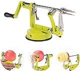 Apple Peelers, 3 In 1 Stainless Steel Apple Peeler Corer Slicer with Suction Base Spiral Multicolor Peelers Slicer (Green)