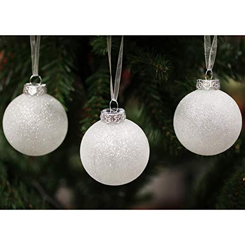 Sleetly Adornos navideños de Bolas de Navidad, Bolas de Nieve Blancas, 60 mm, Juego de 18