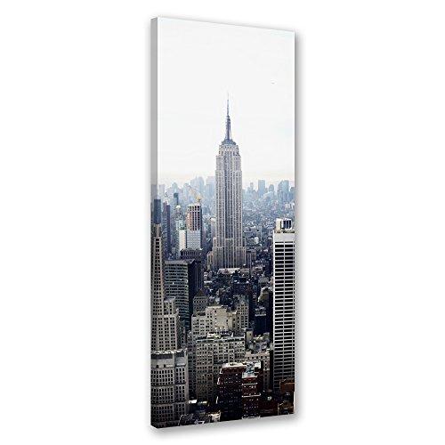 Feeby. Cuadro en lienzo - 1 Parte - 40x120 cm, Imagen impresión Pintura decoración Cuadros de una pieza, EDIFICIO EMPIRE STATE, NUEVA YORK, ARQUITECTURA, GRIS