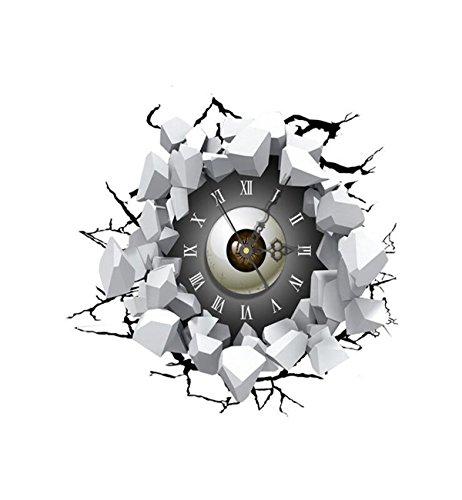 Sucastle® 41.6CMx38CM PVC Horloge Murale Silencieuse Moderne Horloge Pendule Murale Style Vintage Horloge avec Décoration Maison 3D DIY Pendule Murale Moderne Métallique Horloge