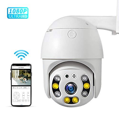 PTZ Camara Vigilancia, Camara WiFi Exterior Impermeable IP66 con Audio de Dos Vías, Visión Nocturna infrarroja, Detección de Movimiento,AI Alarma, 355° Pan/90° Tilt