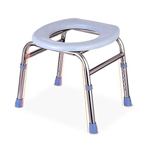 ZAPIP HöHenverstellbare Toilettenstuhl, Duschstuhl, Tragbarer Nachttisch, Alt/Schwanger/Behindert, Grau