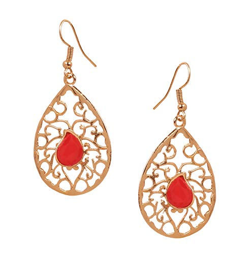 NEW! Touchstone Indian Bollywood Beautifully Hand Peeled Metal Mesh Work Faux Ruby Ravishing Pear Shape Modern Designer Jewelry Light Weight Earrings In Gold Tone For Women.