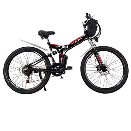 Jun Bicicleta eléctrica, 24 Pulgadas 48V12ah Bicicleta eléctrica de la batería de Litio de aleación de Aluminio Plegable Bicicleta de montaña eléctrica