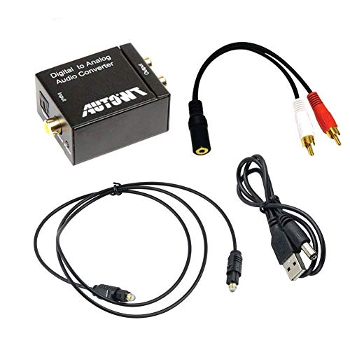 AutoWT Digital Coaxial Toslink Adapter with Optical Cable, 3.5mm Audio Cable and USB Power Cable