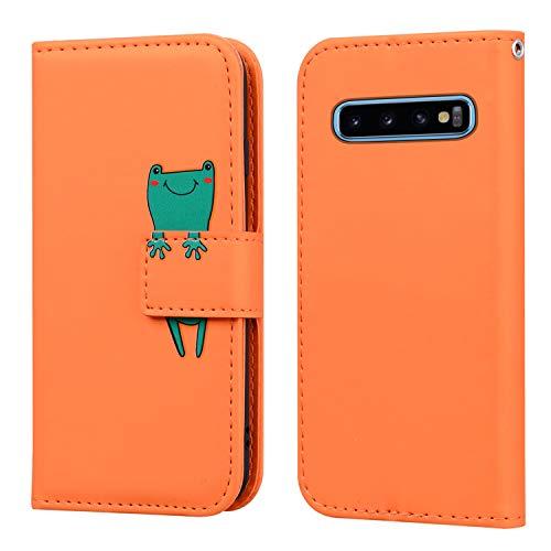 FMPC Funda Samsung Galaxy S10 Plus con Tapa, Wallet Serie Cuero Carcasa con Libro Case, Cierre Magnético Función de Soporte Rana de Dibujos Animados en 3D, Naranja