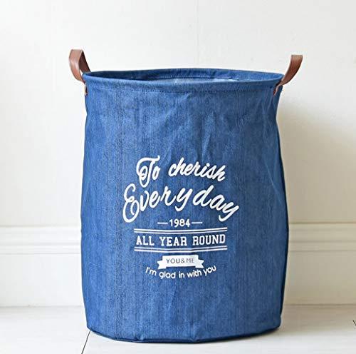 Blau Schmutzige Kleidung Stehen Lagerung Hämmer, Wäschekorb Lagerung Leinen Schmutzige Barrel Falten Spielzeug Korb für Badezimmer Schlafzimmer Haus, 35 * 45 cm