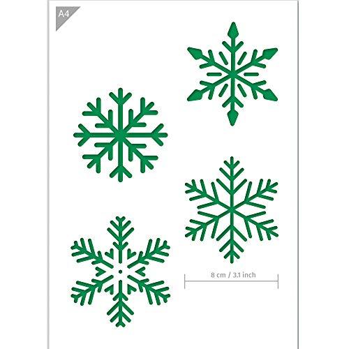 QBIX Schneeflocken Schablone - Schneekristall Winterdekoration - A4 Größe -Wiederverwendbare kinderfreundliche Schablone für Malerei, Fenster, Kunsthandwerk, Wand, Möbel