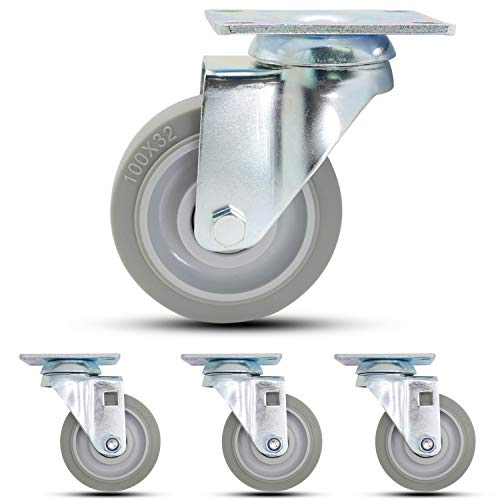 "Casoter 4"" Swivel w/o Brake Caster, Noise-Free Elastic Thermo Plastic Rubber Wheel Mute Smooth Sturdy Heavy Duty Double Ball Bearing Top Plate Mounted Caster, 1200Lbs Total Load Capacity 4-Pack"