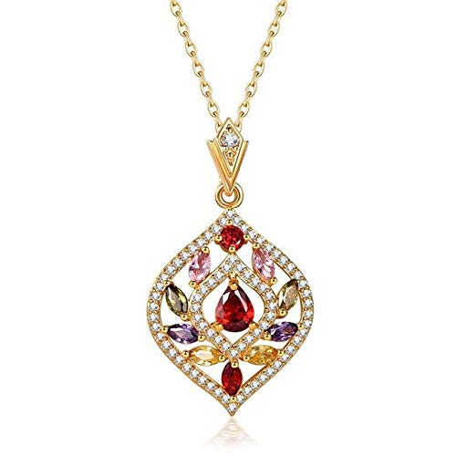 BGPOM Multicolor Der Baum des Lebens Anhänger Halskette für Frauen Modeschmuck Gold Farbe 45 cm KetteB