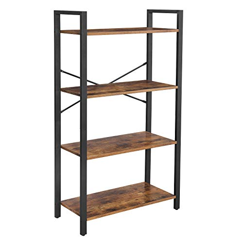 VASAGLE Bücherregal mit 4 Ebenen, Aufbewahrungsregal, Stahlgestell, Höhe 120 cm, für Wohnzimmer, Büro, Arbeitszimmer und Flur, Industrie-Design, vintagebraun-schwarz LLS60BX