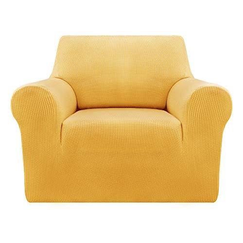 Deconovo Sofabezug Sofa Überzug SofaüberwurfSofa Cover Sesselbezug Sofahusse Sofa Abdeckung Super Elastisch Stretch Jacquard 80-120 cm Gelb 1-Sitzer