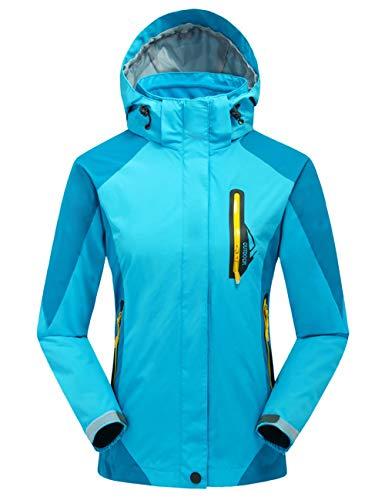 Echinodon Kinder 3 in 1 Outdoorjacke Wasserdicht/Winddicht/Warm Funktionsjacke Wanderjacke Jungen Mädchen Winter Jacke Hellblau XXL