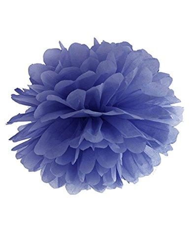 Papieren pompoms roze wit pompom zijdepapier bruiloft decoratie slinger 25 cm, kleur: donkerblauw