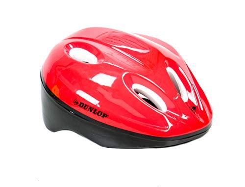 Dunlop! Kinderfahrradhelm rot, Größen von 48-54 cm, universell anpassbar durch 18 Schaumstoff-Pads in diversen Stärken (Rot)