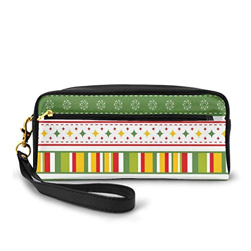 Pencil Case Pen Bag Pouch Stationary,Traditional Winter Seasonal Borders Stars Bells Trees Stripes Print,Small Makeup Bag Coin Purse