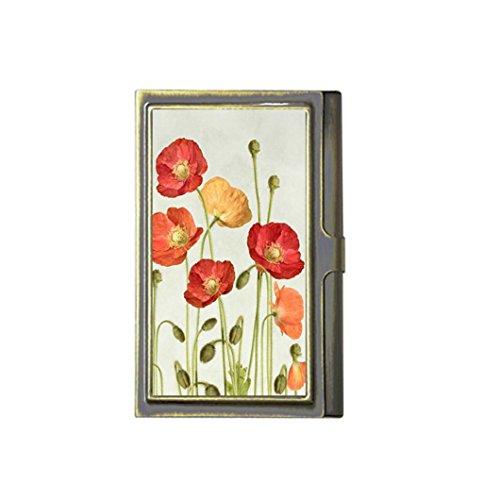 Bloemen Schedel Vlag Aangepaste Mode Afbeelding Business Bronzen Naam Kaarthouder RVS Doos Case Card Portemonneehouder door