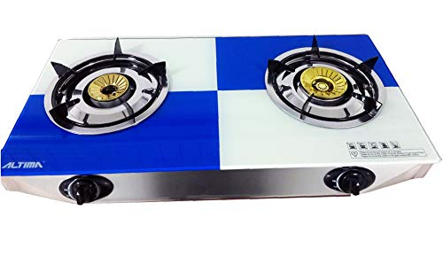 Table top Gas Stove 2 Burner Hob Freestanding Glass Indoor Piezo Caravan...