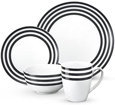 Cruise Multi-Striped Collection 16-piece Porcelain Dinnerware Set, Exclusive