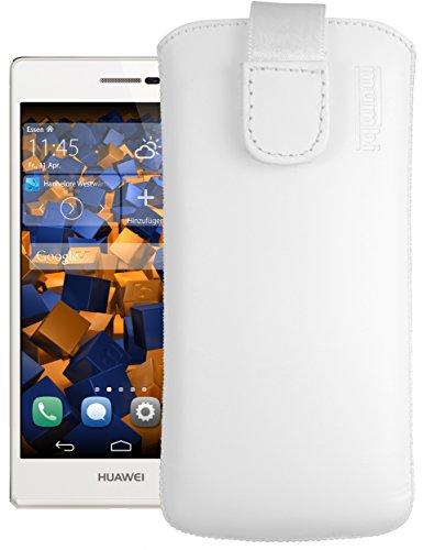 mumbi Echt Ledertasche kompatibel mit Huawei Ascend P7 Hülle Leder Tasche Hülle Wallet, Weiss