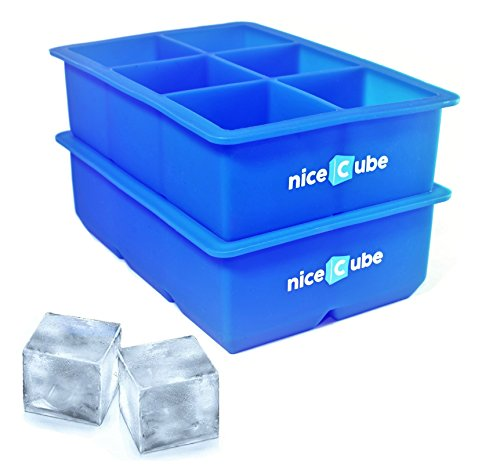 niceCube Silicone Ice Cube Trays and Molds, Easy Release, BPA-Free (Large 6 Cube)