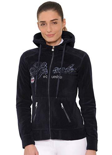SPOOKS Damen Flisjacke Fleecejacke, leichte Damenjacke mit Kapuze, Herbstjacke - Roxie Sequin Fleece Navy L