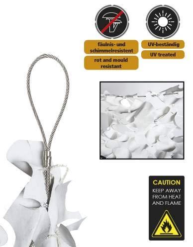 Filet de camouflage 80% de protection 4x6 m +câble acier - Blanc