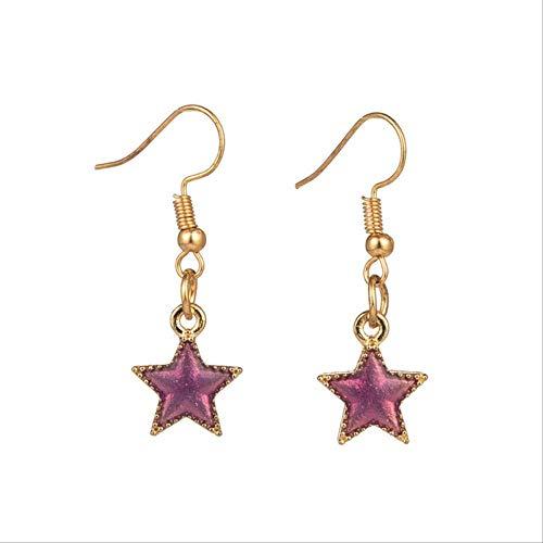 Épingles d'oreille romantique doux mignon coloré forme d'étoile pendantes boucles d'oreilles pendantes pour femmes et filles accessoire de fiançailles de mariage taille 01 violet