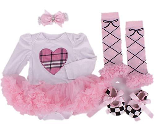 """JINGPIN Un Vestido de Pettiskirt de 20 \""""- 22\"""", una muñeca reciclada de Color Rosa, Zapatos de Amor, un Hermoso Vestido Rosa 4 en 1"""