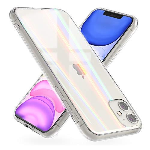 NALIA Hartglas Case kompatibel mit iPhone 11 Hülle, Transparentes Regenbogen Hardcase aus Tempered Glass mit Silikon Bumper, bunt glänzende stoßfeste & Kratzfeste Handyhülle Cover Schutzhülle