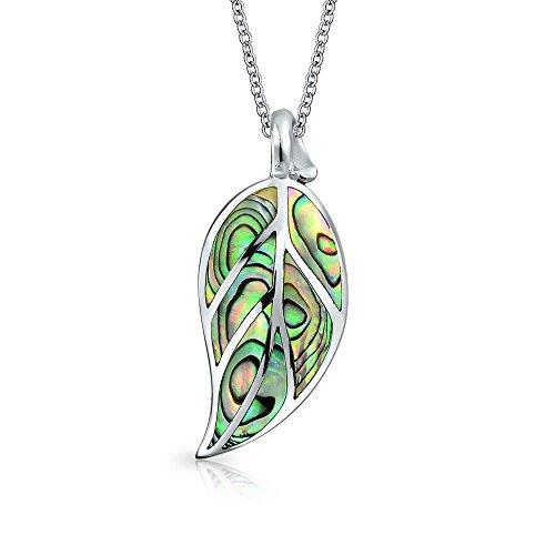 Bling Jewelry Arcoiris Abalone Concha Inlay Gran Naturaleza Cuelgan Hojas para Mujer Colgante Collar con Cadena De Plata Esterlina 925