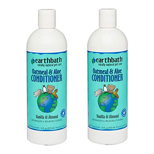 earthbath Oatmeal & Aloe Conditioner, Vanilla & Almond, 16oz – Dog Conditioner for Allergies & Itching, Dry Skin – Made in USA (Pack of 2)