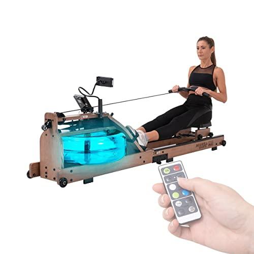 Miweba Sports Wasser-Rudergerät MR700 - Echtholz-Rudermaschine - LED-Wassertank - Klappbar - Wasserwiderstand - LCD-Display (Esche dunkel)