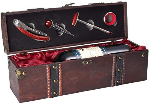 Geschenkset Weinset mit 1 Flasche Rotwein Jahrgang 2008 Marquis de Lugon - in Holzkiste mit Sommelierset