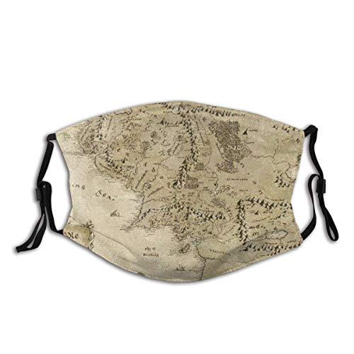 Signore dell'anello Mappa della Terra di Mezzo Filtro antipolvere riutilizzabile e riutilizzabile bocca calda antivento cotone viso per adolescenti uomini donne