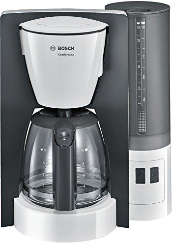 Bosch TKA6A041 ComfortLine Filterkaffeemaschine, Aroma+, Aromaschutz-Glaskanne, Auto-Off wählbar, abnehmbarer Wassertank, 1200 W, weiß
