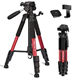 """Joilcan 66"""" Lightweight Camera/Phone Tripod, Aluminum Travel Portable SLR Camera Tripod with Mobile Phone Mount and 2 Quick Release Plate&Carrying Case (Red)"""
