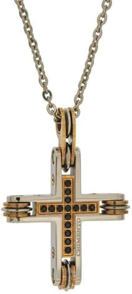 Chimento,collana per uomo in acciaio,con inserti in pvd rosa e pietre nere. la catena misura cm 50. 3GX8981WW7500