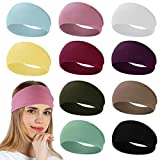 RITOPER 10 Pack Headbands for Women, Wide Elastic Thick Headbands for Running Yoga Workout, Non Slip Stretchy Womens Headbands Sweat Head Bands Cute Hair Bands Turban Headwraps (solid headbands)