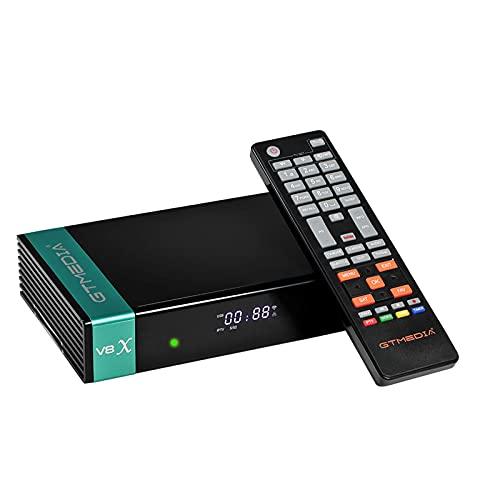 GT Media V8X DVB-S / S2 / S2X Decodificador de Receptor de TV Satelital Digital con Wi-Fi Incorporado / 1080P Full HD/FTA Soporte CC CAM, Youtube, Ranura para Tarjeta CA (V8 Nova Actualizado)