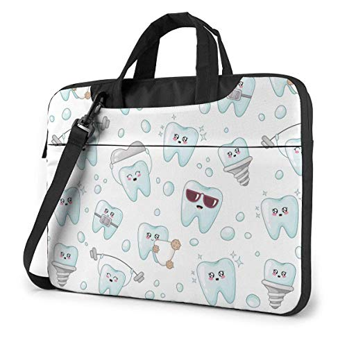 Adults Student Laptop Bag Protective Notebook Computer Protective Cover Handbag Kawaii Cartoon Dentist Tooth Implant Crown