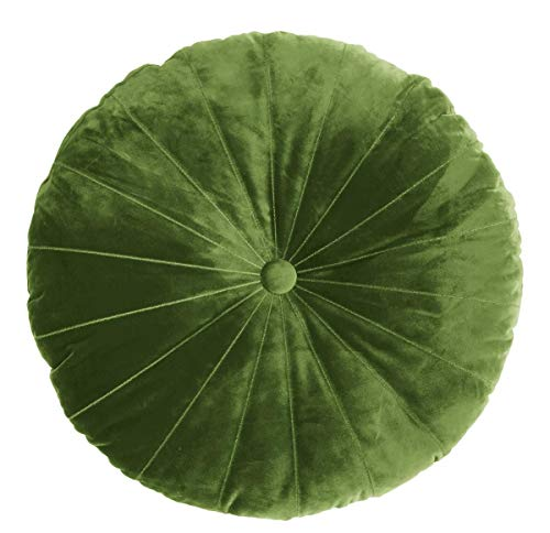 KAAT Amsterdam Mandarin Coussin décoratif rond en velours avec bouton au centre Vert 40 cm